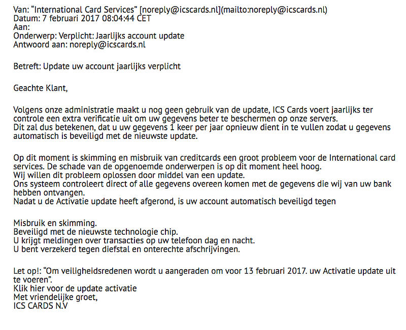 Pas op voor valse e-mail 'ICS' over jaarlijkse account update
