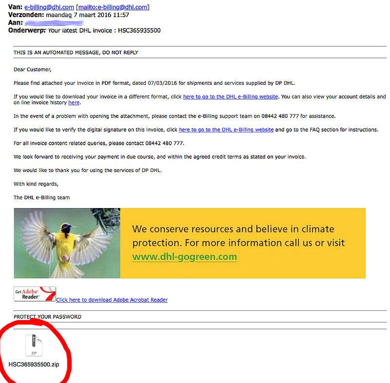 Mogelijk malware in e-mails namens 'DHL'