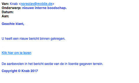 Trap niet in phishingmail van bank 'Knab'