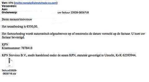 E-mail 'KPN' over factuur van 550 euro bevat malware
