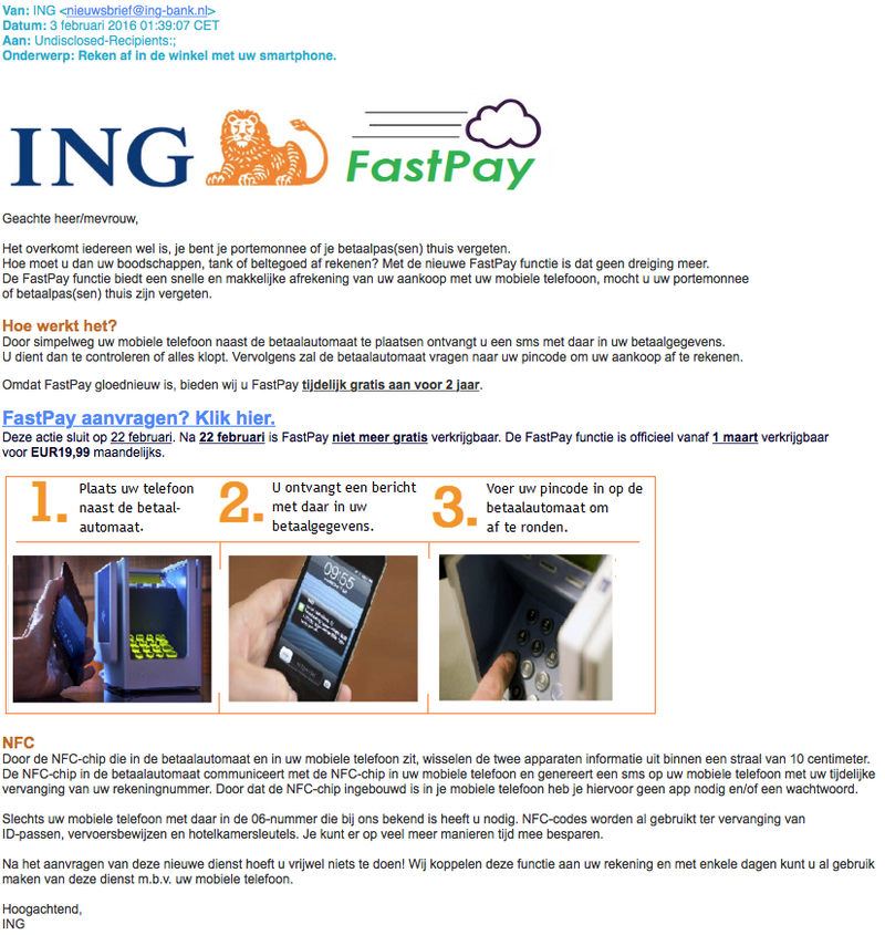 Nepmail ING over FastPay