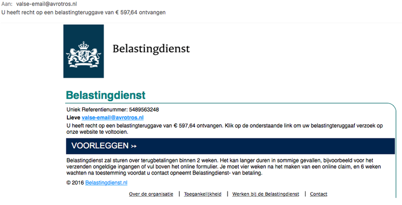Criminelen sturen valse e-mail 'Belastingdienst'