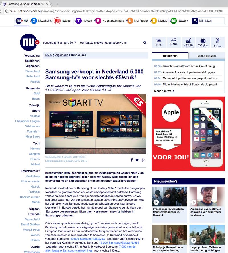 Facebook-scam: Samsung tv voor slechts € 5,-