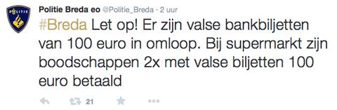 Valse bankbiljetten in omloop in Breda
