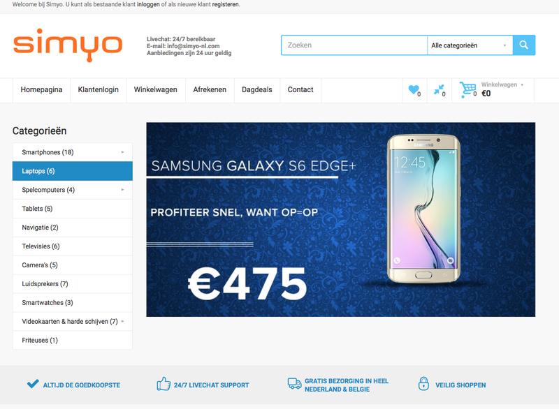 Valse website 'Simyo'