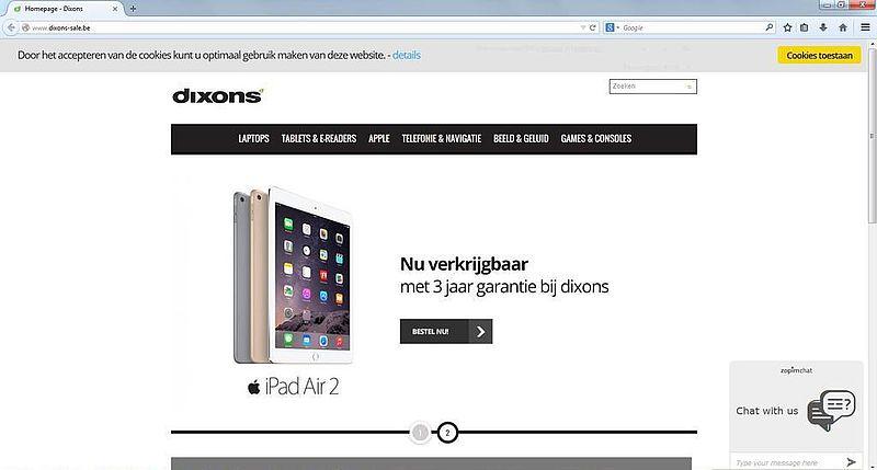 'Dixons-sale.be misbruikt gegevens Dixons'