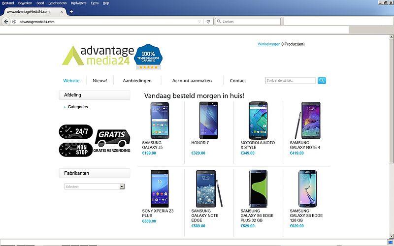 'www.advantagemedia24.com is een fake webshop'