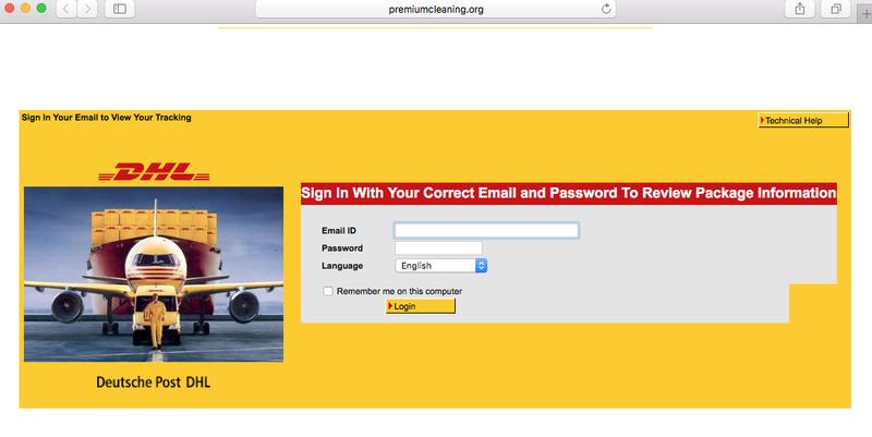 Phishingmail 'DHL' over pakketje