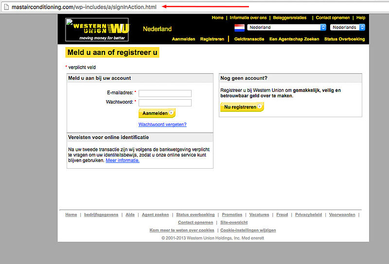 Pas op voor phishingmail Western Union!