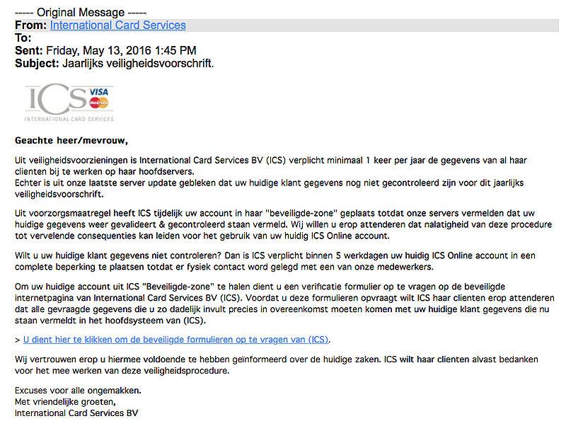 E-mail 'Jaarlijks veiligheidsvoorschrift' is vals