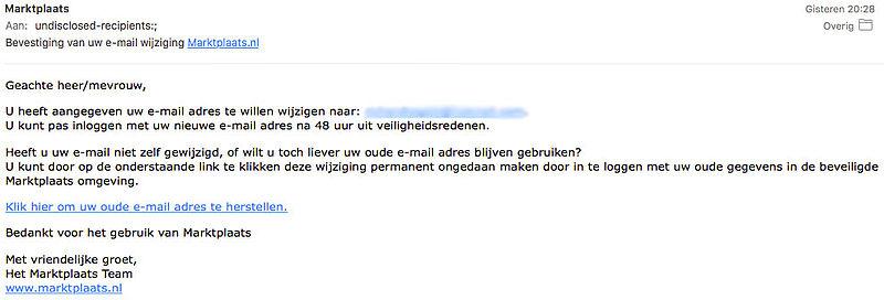 Phishingmail 'Marktplaats' blijft rondgaan