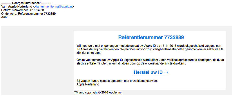 E-mail van 'Apple' over onbekend IP-adres is vals