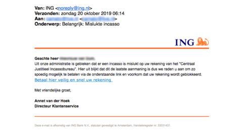 Mail van 'ING' over aanmaning CJIB gehad? Trap er niet in