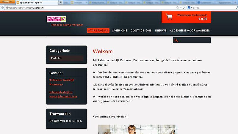 'Misbruik Webshop Keurmerk door www.telecom-bedrijf-vermeer0.webnode.nl'