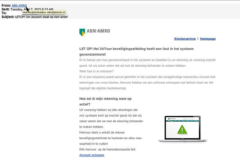 Pas op voor 'beveiligingsbericht' ABN AMRO