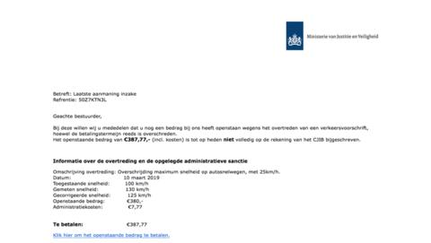 Trap niet in valse aanmaning 'CJIB' en bespaar ruim € 380,-