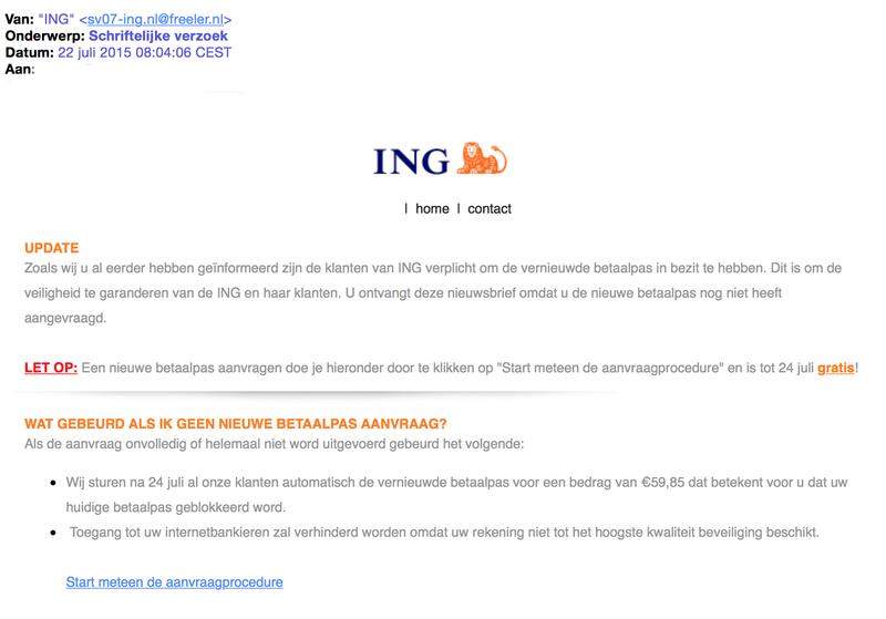 Mail 'Schriftelijke verzoek' van ING is vals
