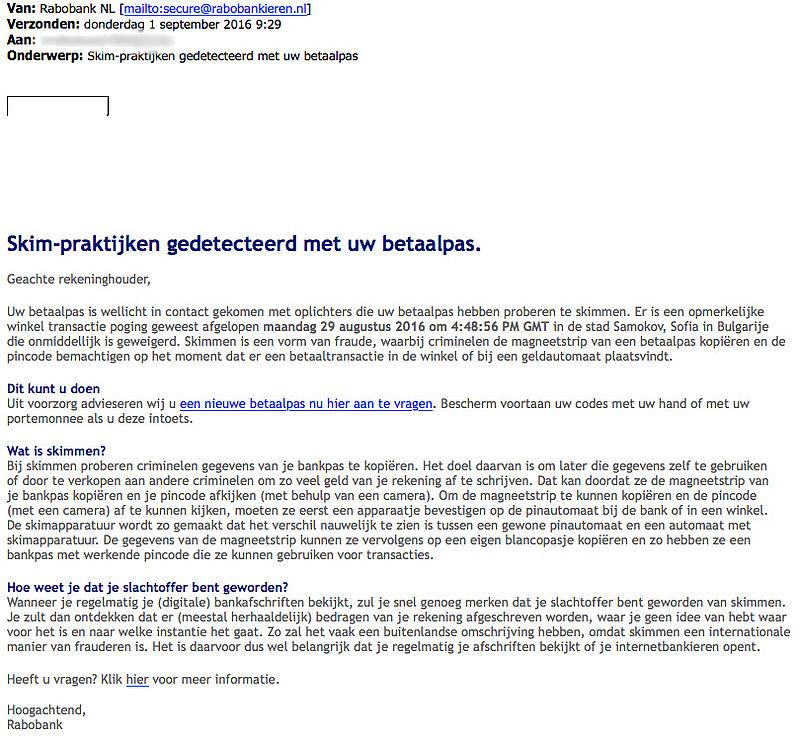 Opnieuw valse e-mail 'Rabobank'