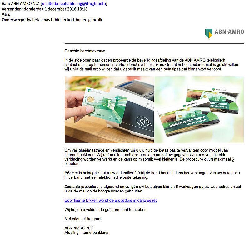 Opnieuw phishingmail 'ABN AMRO' over betaalpas