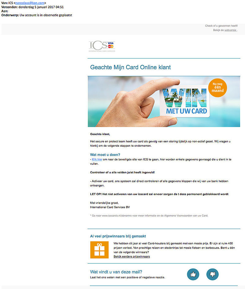 Phishingmail 'ICS': kaart tijdelijk geblokkeerd