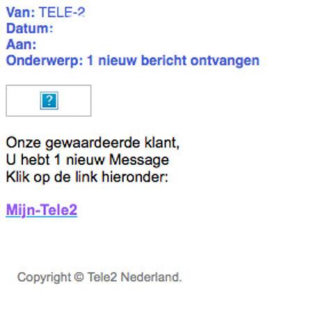 Valse e-mail 'Tele2' in omloop