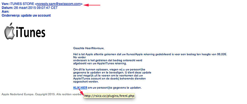 Valse e-mail van iTunes in omloop