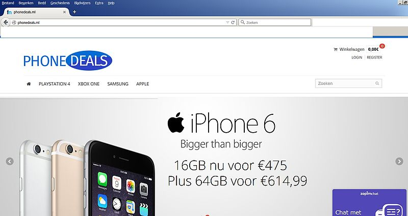 'Phonedeals.ml adverteert via gehackte Marktplaatsaccount'