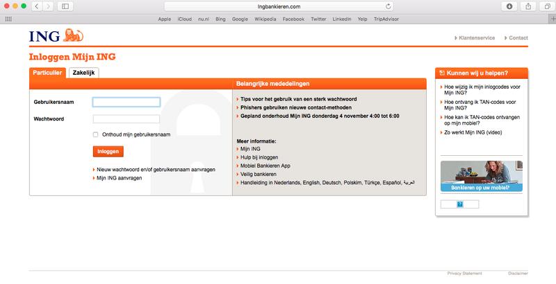 Phishingmail 'ING' over verdachte inlogpoging