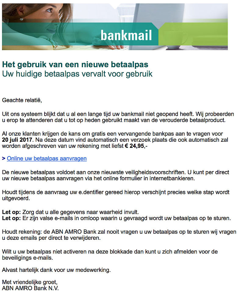 E-mail 'ABN AMRO' over nieuwe betaalpas is nep