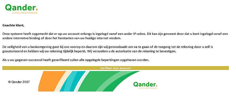 Pas op voor phishingmail 'Qander'