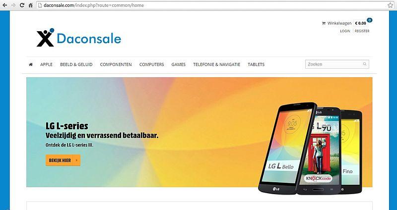 'Pas op voor de webshop www.daconsale.com'