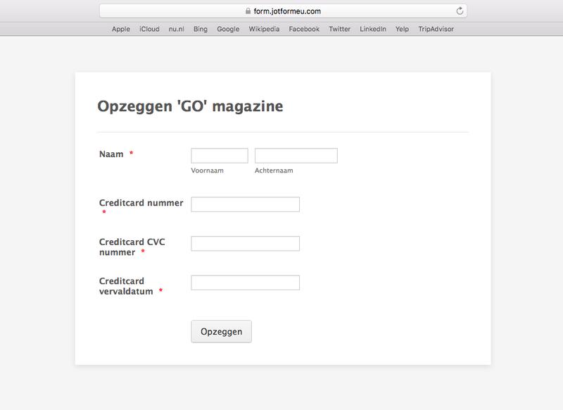 Pas op voor mail 'GO-magazine'
