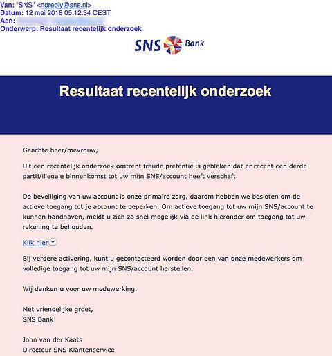 E-mail uit naam van SNS is phishing