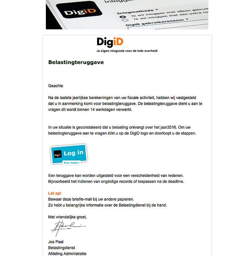Pas op voor valse e-mail DigiD
