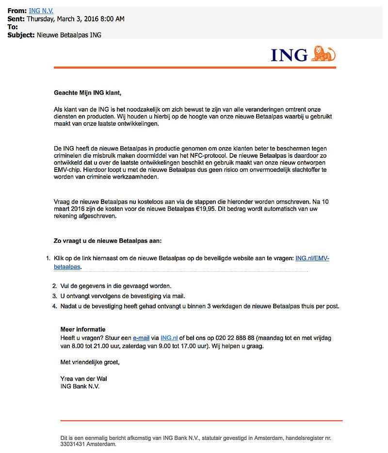 Valse e-mail: 'nieuwe betaalpas ING'
