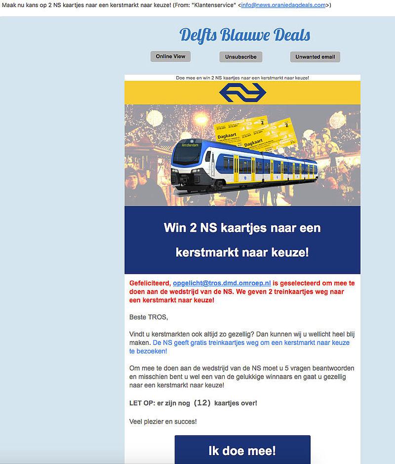 Misleidende winactie 'NS': treinreis naar kerstmarkt