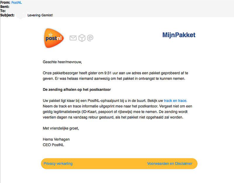 Kijk uit voor malwaremail 'PostNL' over gemiste levering!