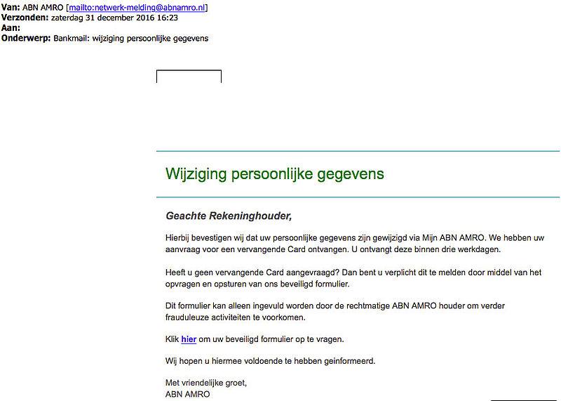 Opnieuw phishingmail 'ABN AMRO' in omloop