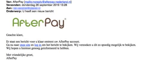 Mail van 'AfterPay' over een nieuw bericht is vals