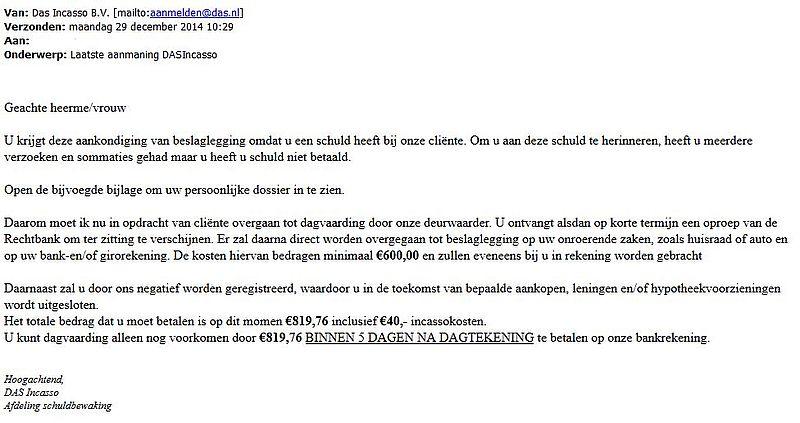 Fraudehelpdesk waarschuwt voor incasso-mail met virus