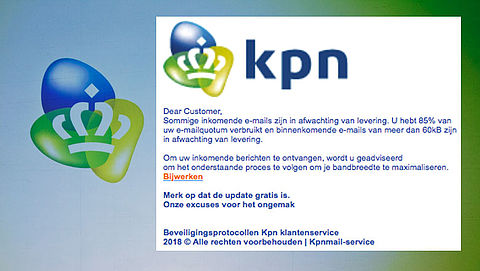 Bericht 'KPN' over e-mailquotum blijkt phishing