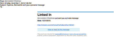 Malware in e-mail LinkedIn over 'privébericht'