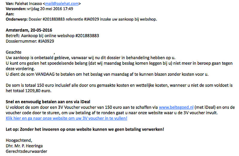 Trap niet in e-mail 'Palehat Incasso'