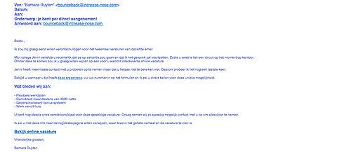 Werkzoekenden opgelet! E-mail verstuurd over nepvacature