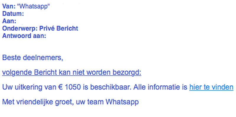 Valse e-mail 'WhatsApp' in omloop