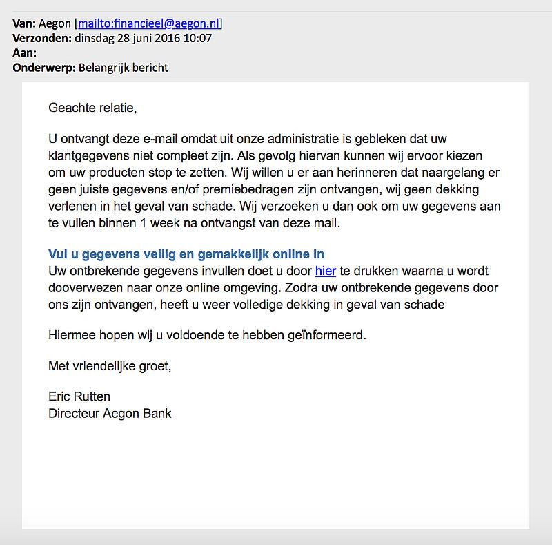 Opnieuw valse e-mail 'Aegon'