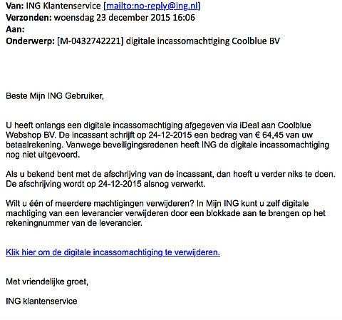 Valse mail over incassomachtiging 'Coolblue'