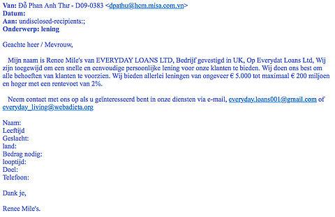 Opgelet: e-mails voorschotfraude op grote schaal verspreid