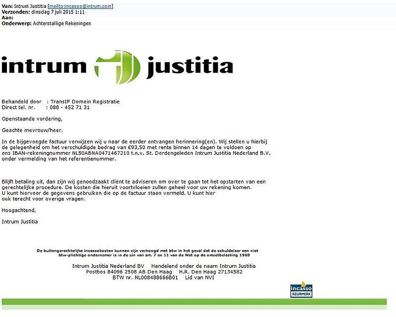 Valse mail 'Intrum Justitia' bevat virus!