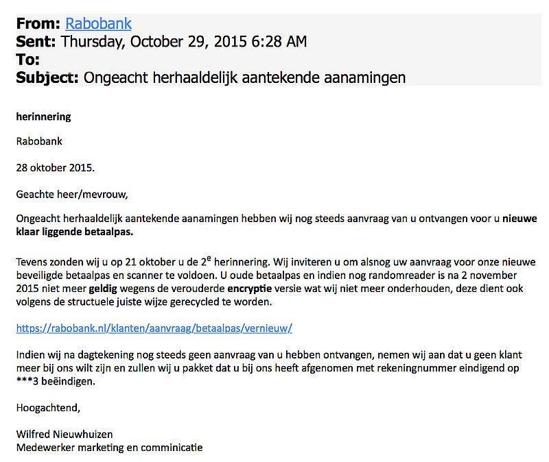 Valse mail Rabobank: 'herinnering'